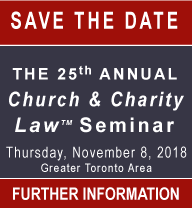 Carter 25th Church & Charity Law Seminar - Save the Date